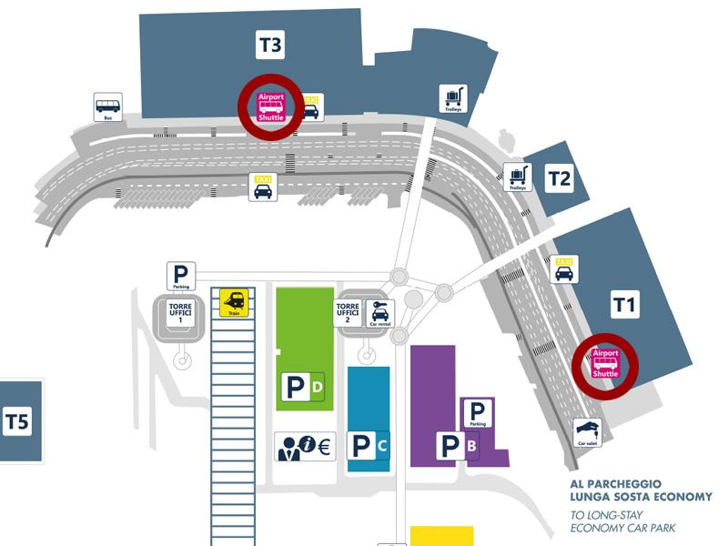 Autobuske stanice na terminalima 1 i 3 (foto: Aeroporti di Roma)