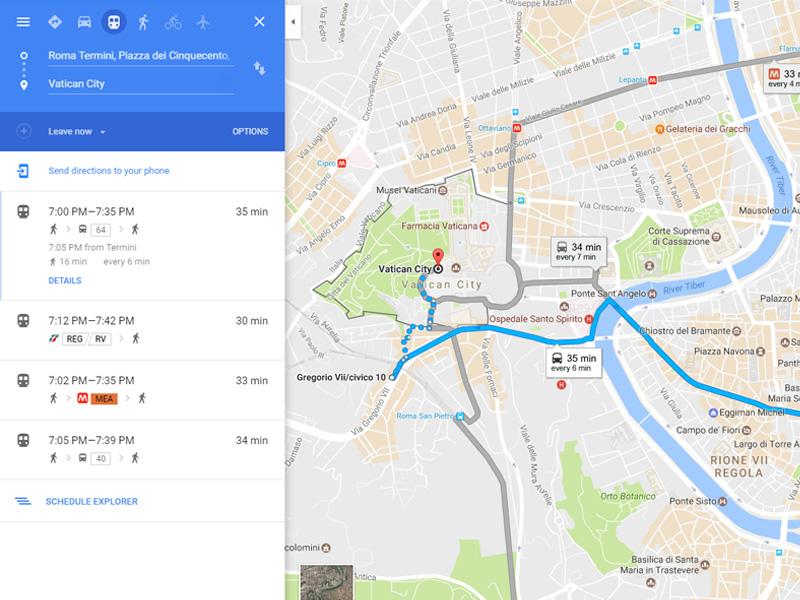 Google Maps - red vožnje, stajališta, trase linija, prolazak vozila u relanom vremenu