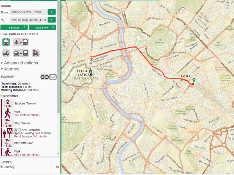 Muovi Roma - red vožnje, stajališta, trase linija, prolazak vozila u relanom vremenu